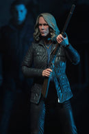 "This is a HALLOWEEN 2018 NECA 7"" Scale Action Figure Ultimate Laurie Strode and she has grey hair, glasses, a coat and is holding up a rifle with Michael Myers behind her."