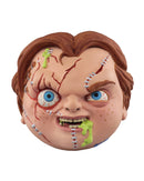 Chucky has red hair, scars on his face, his head is a ball and he has green stuff coming out of his foam head.