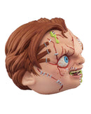 Chucky from Child's Play has red hair, scars on his face, his head is a ball and he has green stuff coming out of his foam head.