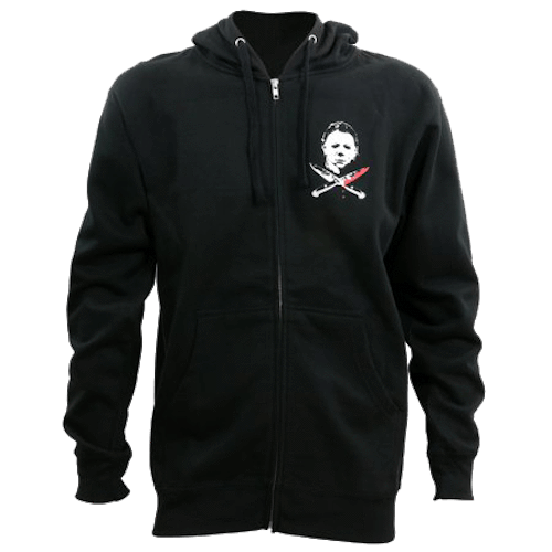 This is a Halloween Michael Myers hoodie that is black with a white face and knives crossing.