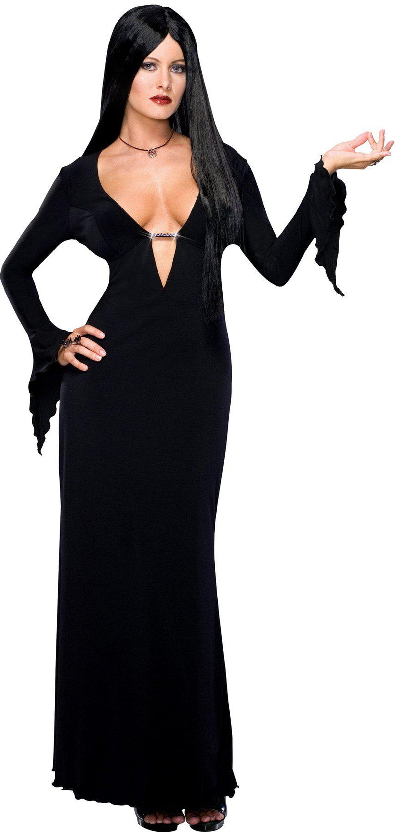 THE ADDAMS FAMILY - Morticia Adult V Neckline Costume-Costume-1-Classic Horror Shop