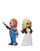 Chucky NECA Toony Terror action figure is wearing a striped shirt with coveralls, holding a knife and standing next to Tiffany in a white wedding dress, who is holding a cigarette.