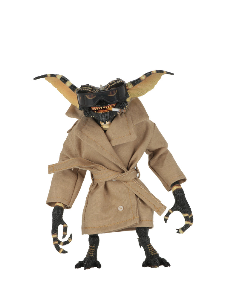 This is a NECA Gremlins flasher ultimate action figure with tan trench coat, glasses and cigarette.
