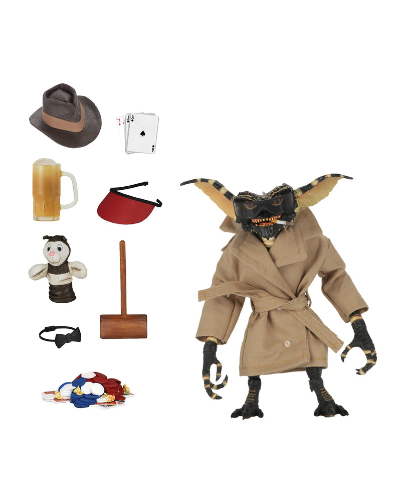 This is a NECA Gremlins flasher ultimate action figure with hat, cards, beer, visor, puppet, mallet, bow tie and poker chips.