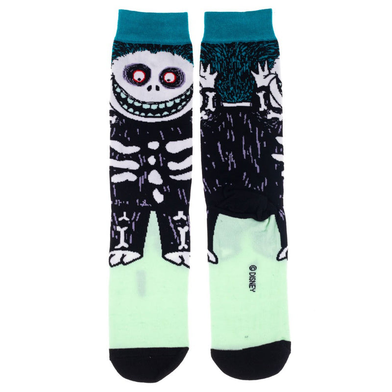 This is a pair of Nightmare Before Christmas Barrel 360 crew socks and he is a black skeleton with blue hair.