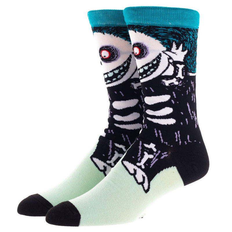This is a pair of Nightmare Before Christmas Barrel 360 crew socks and he is a black skeleton.