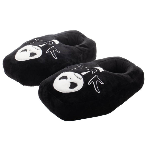 This is a pair of Jack Skellington Nightmare Before Christmas Black slippers that are shaped like a coffin and have memory foam with Jack's face on them.