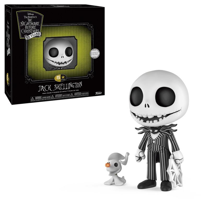 This is a Jack Skellington 5 Star Funko and he has a white face, black pinstripe suit and he has a white ghost named zero and a white spiderweb.