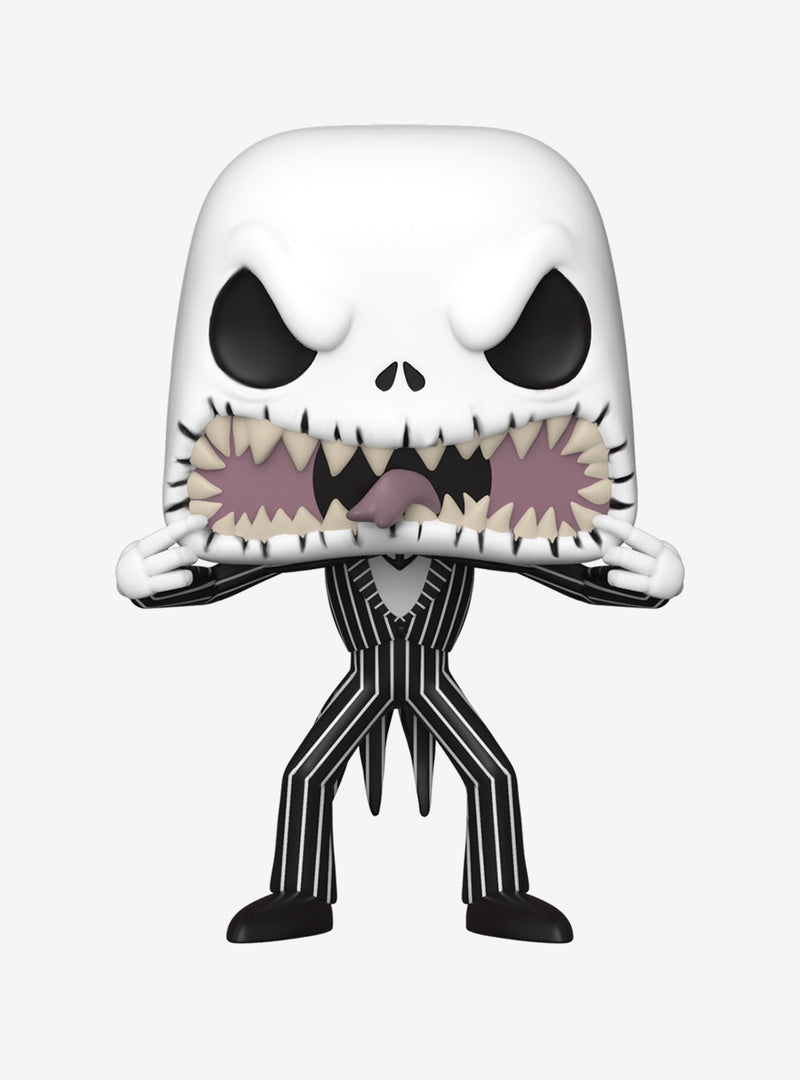 This is a Nightmare Before Christmas Jack Skellington scary face Funko pop vinyl and he has a black and white striped suit, white face with black eyes, white hands and he is pulling his mouth open to show his pointy teeth and tongue sticking out.