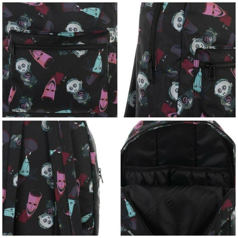 This is a Nightmare Before Christmas Lock Shock and Barrel backpack that is black, with a black handle, with a front zipper pocket, inside pockets and padded shoulder straps and the disney characters are red, green and pink.