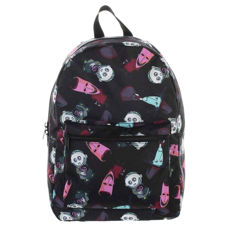 This is a Nightmare Before Christmas Lock Shock and Barrel backpack that is black, with a black strap, with a front zipper pocket.