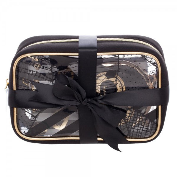This is a Nightmare Before Christmas travel and makeup bag set of three and it is black with gold Jack and Sally, black and clear, with a black ribbon around it.
