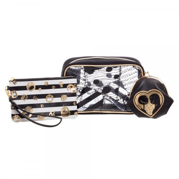 This is a Nightmare Before Christmas travel and makeup bag set of three and it is black with gold Jack and Sally, black and white striped with gold scary pumpkins and clear.