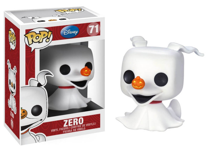 This is a Nightmare Before Christmas Zero Pop Vinyl Funko and he is a white ghost with ears, black eyes and an orange pumpkin nose.