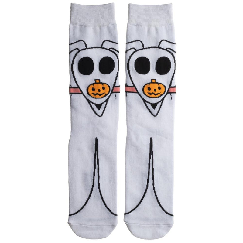 This is a pair of Nightmare Before Christmas Zero 360 socks and he is white, with black eyes and an orange pumpkin nose.