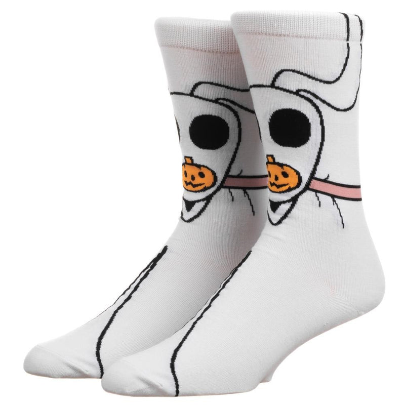 This is a pair of Nightmare Before Christmas Zero 360 socks and he is white, with black eyes and an orange pumpkin nose and they are on feet.