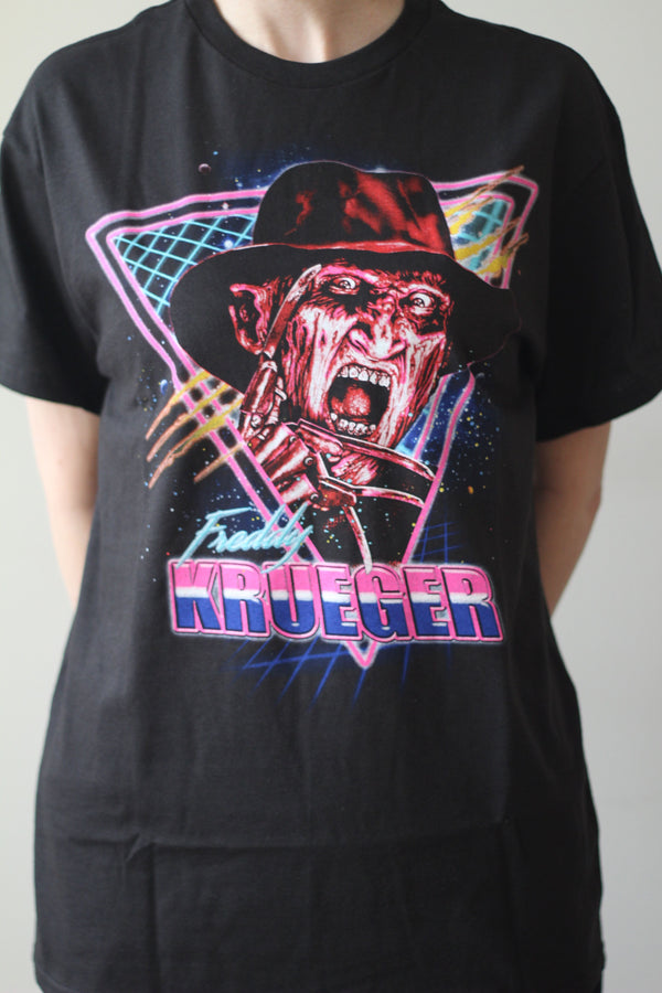 A NIGHTMARE ON ELM ST - Adult Retro Freddy T-shirt Men's-T-shirt-1-Classic Horror Shop