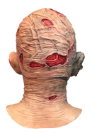 This is a Nightmare On Elm Street Freddy Krueger mask and he has red burn marks on the back of his head and neck.