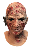 This is a Nightmare On Elm Street Freddy Krueger mask and he has red burn marks on his face and neck and a burnt ear.