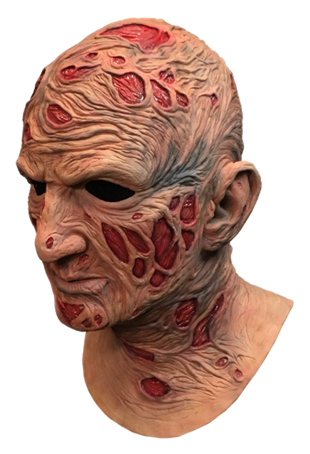 This is a Nightmare On Elm Street Freddy Krueger mask and he has red burn marks on his face and neck and on the top of his head.