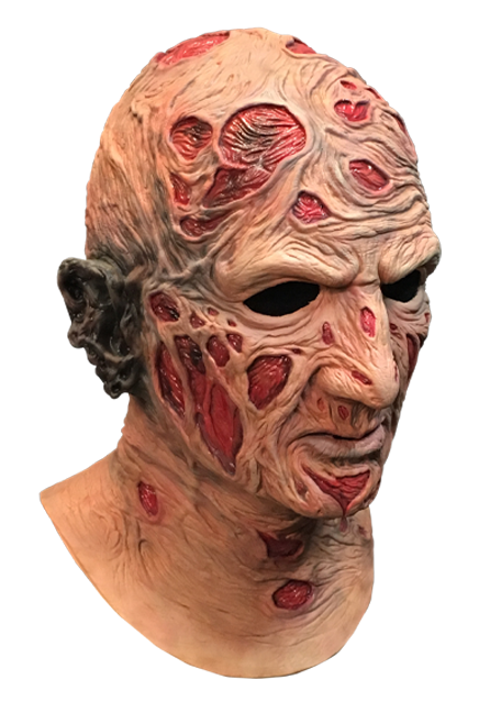 This is a Nightmare On Elm Street Freddy Krueger mask and he has red burn marks on his face and neck and a burnt, black right ear.