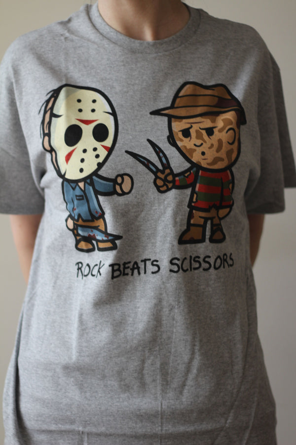 A NIGHTMARE ON ELM ST - Adult Rock Beats Scissors Freddy and Jason T-shirt Men's-T-shirt-1-Classic Horror Shop