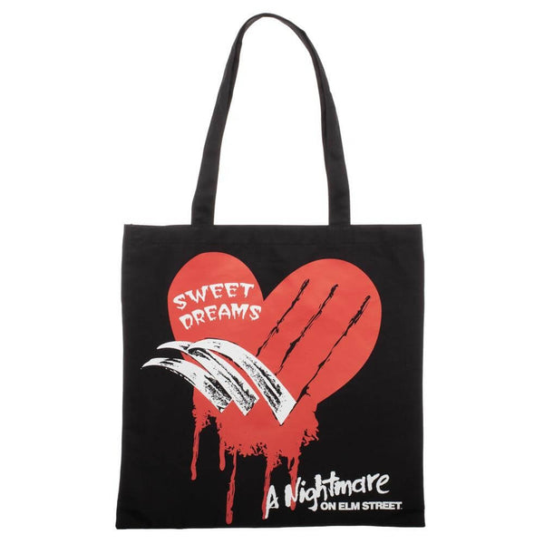 This is a black canvas tote from Nightmare On Elm Street with a red heart, knives and white letters that say sweet dreams.