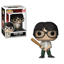 This is an It movie Pop vinyl Funko of Richie Tolzier, who is wearing a button up shirt with a white tshirt, green pants, glasses, tennis shoes and is holding a bat.