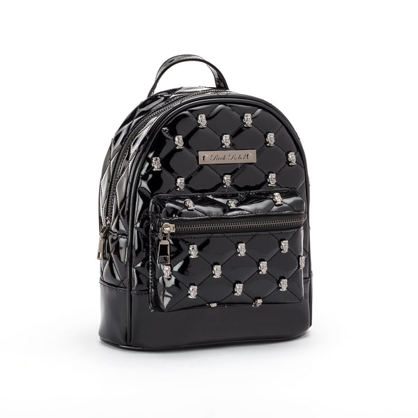 This is a vegan black Universal Monsters purse backpack that is shiny and has metal Frankenstein heads on it.