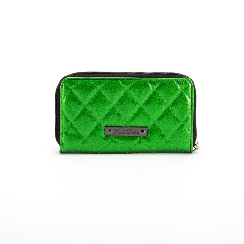 This is a vegan green Universal Monsters wallet that is shiny and quilted.
