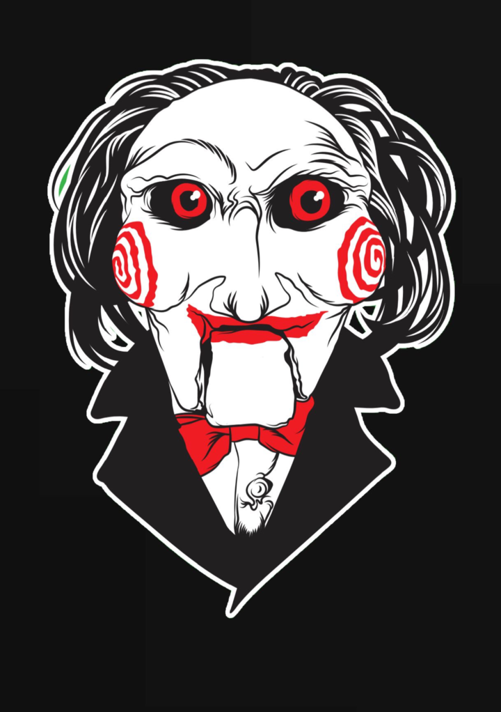 This is a Saw Billy die cut sticker and he has a white face, red eyes, red bullseye cheeks, red bowtie and black jacket.