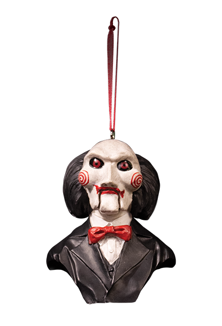 This is a Saw Billy puppet ornament that has a black suit with red bowtie, white face with spirals, black hair and a red fabric hanger.