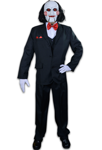 This is a Saw Billy puppet costume that has a black suit with red bowtie, white gloves, white face with spirals and black hair.