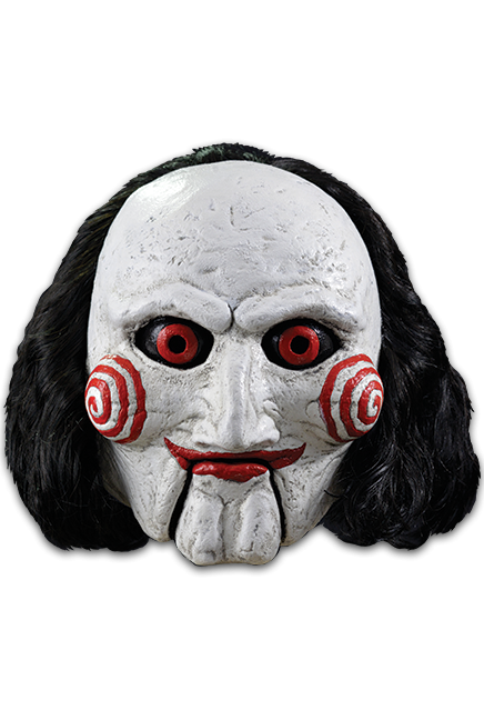 This is a Saw Billy puppet mask that has black hair, white face with spirals and red eyes and lips.