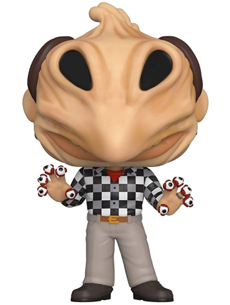 This is a Beetlejuice Adam Maitland Pop Vinyl Funko and he has a black and white checkered shirt and eyeball fingers.