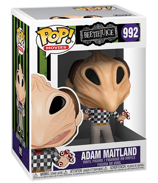 This is a Beetlejuice Adam Maitland Pop Vinyl Funko and he has a black and white checkered shirt and eyeball fingers and the box is number 992.