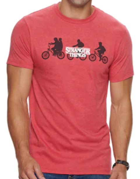 This is a red Stranger Things T-shirt with white letters and kids riding bikes.