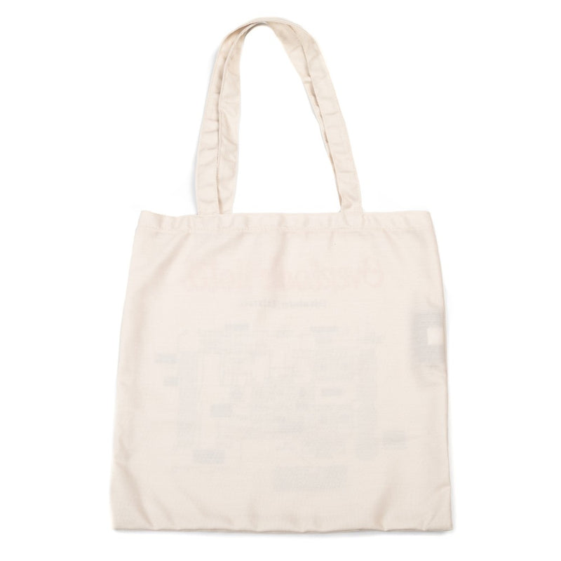 This is a The Shining Overlook Hotel Map canvas tote and it is beige with handles.