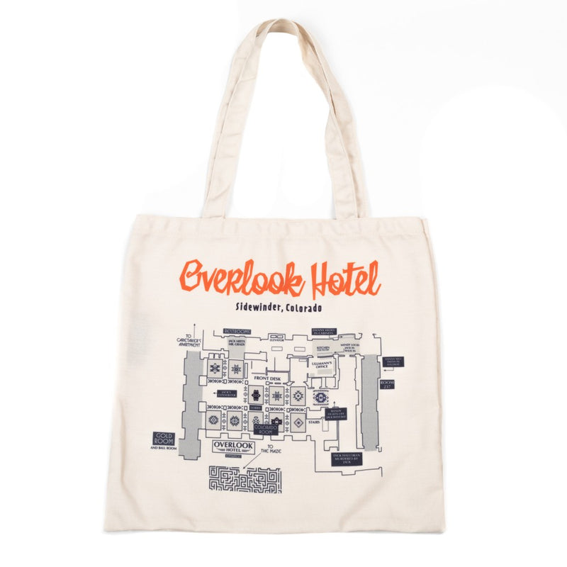 This is a The Shining Overlook Hotel Map canvas tote and it is beige with orange letters.