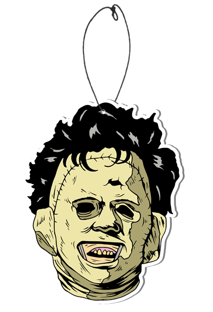 This is a 1974 Texas Chainsaw Massacre Leatherface air freshener and it is a tan face with dark hair.