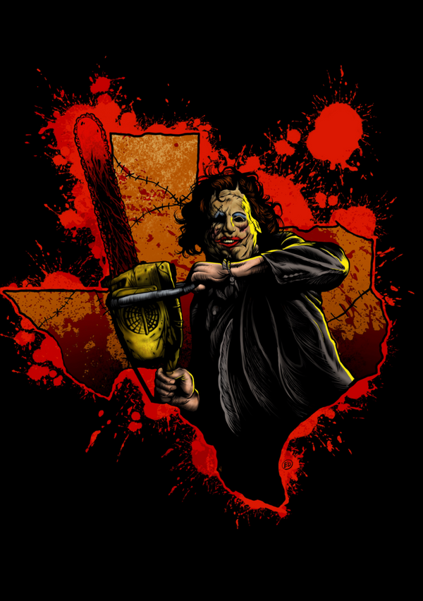This is a Texas Chainsaw Massacre Leatherface sticker and he is wearing a pretty woman skin mask, carrying a chainsaw with blood and is front of the state of Texas.