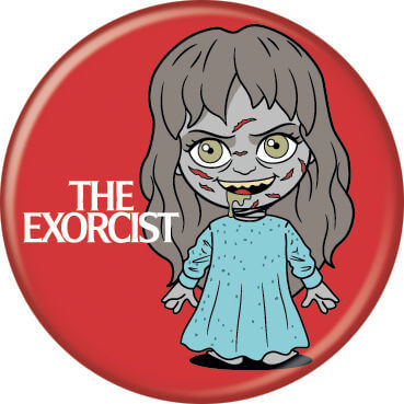This is a chibi button of Regan from The Exorcist and it is red with her standing in a blue nightgown.