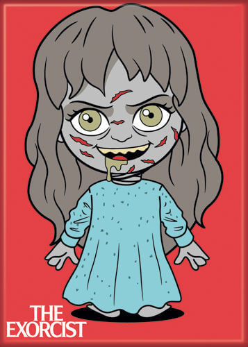 This is a The Exorcist Regan chibi magnet that is red and she is wearing a blue nightgown.