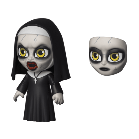 From the movie The Nun, there is a nun in a black dress and black habit and cross who looks possessed and has an extra face.