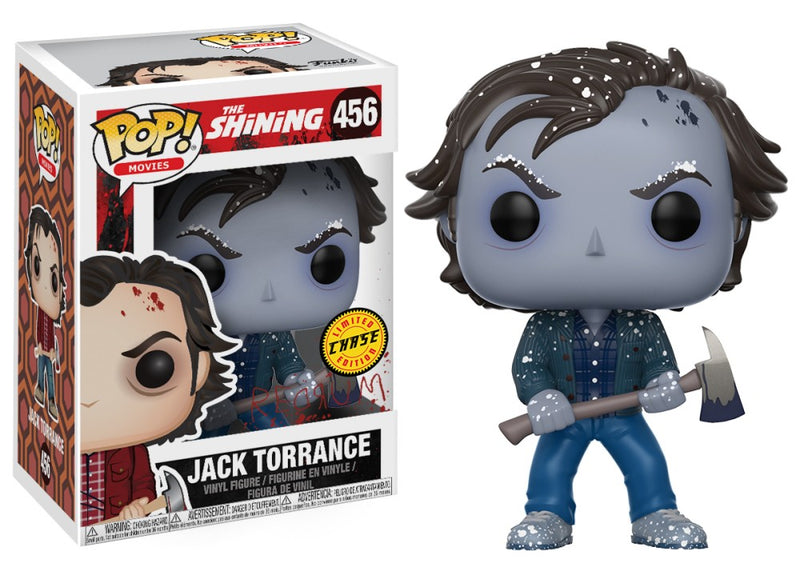 Jack Torrance from the Shining in the form of a pop vinyl chase funko and he is frozen, blue, with brown hair and holding an axe.