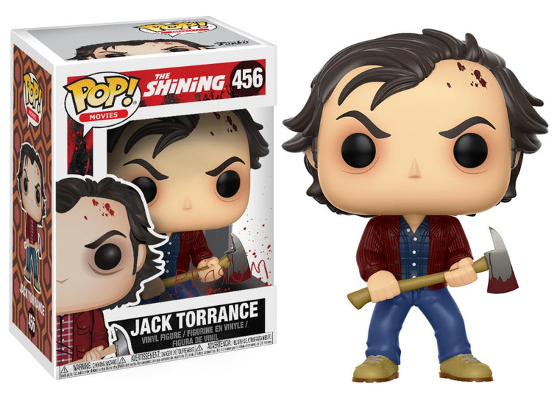 Jack Torrance from the Shining in the form of a pop vinyl funko, with a burgundy jacket and he has brown hair and is holding an axe.