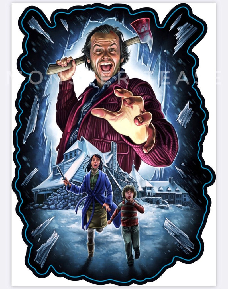 This is a Shining Jack Torrance sticker and he has a bloody axe and Wendy and Danny are running from him.