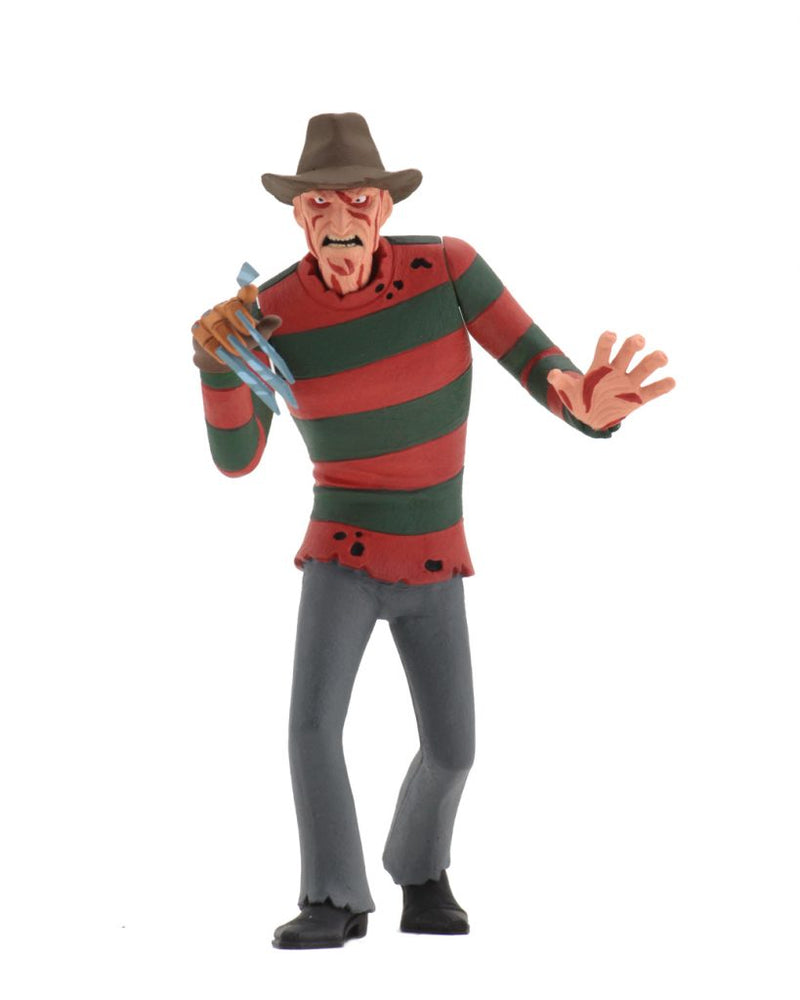 This is a NECA Toony Terror action figure of Freddy Krueger, who is wearing a brown hat, red and green sweater and grey pants.