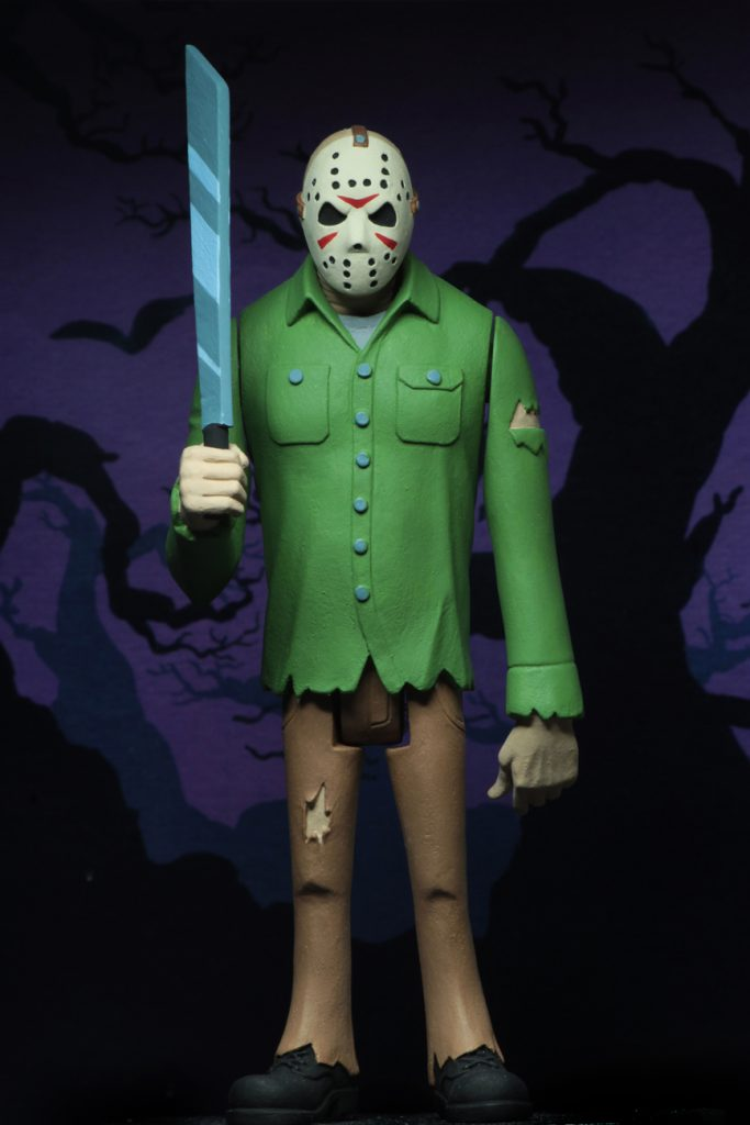 This is a Friday the 13th Jason Voorhees posable NECA action figure, who is holding a machete and wearing a green shirt, brown pants and a hockey mask.