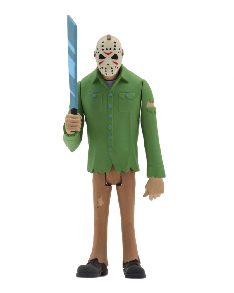 "This is a Toony Terrors Friday the 13th Jason Voorhees posable NECA 6"" action figure, who is holding a machete and wearing a green shirt, brown pants and a hockey mask."